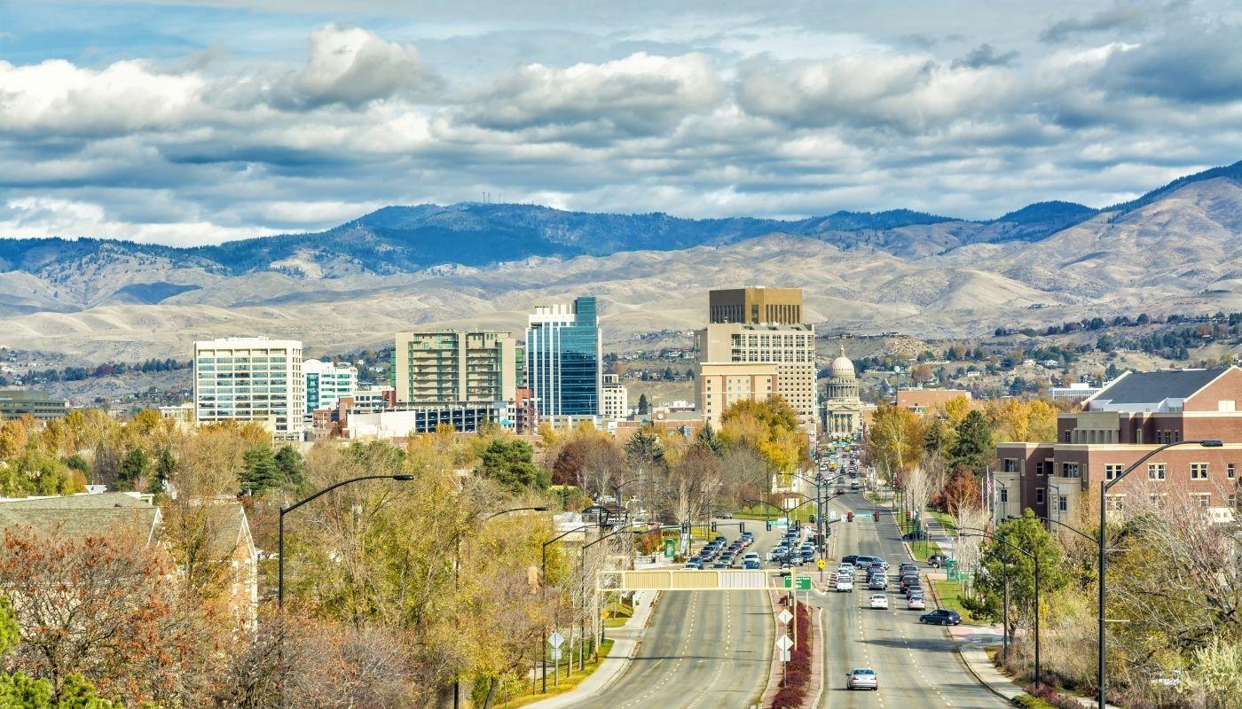 A Look Down Main Street Boise Idaho Towards The Capital